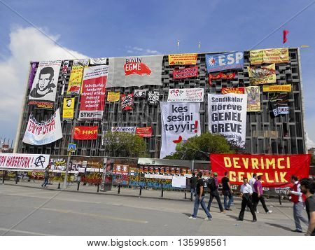 Istanbul Turkey - June 5 2013: It has started action against the construction of a shopping center instead of cutting trees in Gezi Park in Istanbul. A large portion of Turkey It spreads. A wave of demonstrations and civil unrest in Turkey began on 28 May