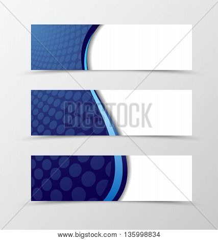 Set of banner wave design. Bright banner for header with blue line. Design of banner in grid style. Vector illustration