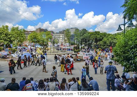 Istanbul Turkey - June 9 2013: It has started action against the construction of a shopping center instead of cutting trees in Gezi Park in Istanbul. A large portion of Turkey It spreads. A wave of demonstrations and civil unrest in Turkey began on 28 May
