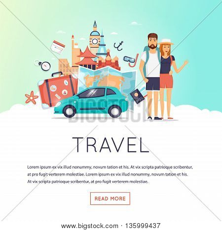Two young tourists on vacation. Character design. World Travel. Planning summer vacations. Summer holiday. Summer travel. Tourism and vacation theme. Flat design vector illustration.
