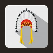 Indian headdress icon in flat style with long shadow. Tribal symbol poster