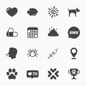 Calendar, go to web and like counter. Veterinary, pets icons. Dog paw, syringe and winner cup signs. Pills, heart and feces symbols. Sms speech bubble, talk symbols. poster