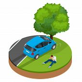 Car crashed into tree. Car crash collision traffic insurance. Car crash safety automobile emergency disaster. Auto accident involving car crash city street vector isometric illustration poster