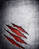 scratched metal background poster