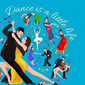 Vector illustration of couple dancing modern dance, Partners dance bachata, Dancing style design concept set, traditional dance flat icon isolated vector illustration, Man and woman ballroom dancing. poster