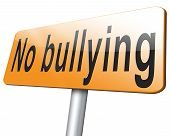 Stop bullying at school or at work stopping harrassment and online internet bully road sign billboard. poster