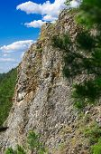 Photo forty-meter cliffs near the city of Kungur in Perm area. Is called the mountain of Ermak. poster