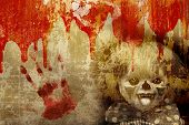 Grunge Halloween background with old stucco wall texture, blood and spooky clown poster