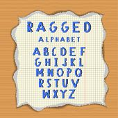 Ragged paper alphabet. Torn latin letters on lacerated piece of paper. Wood background poster