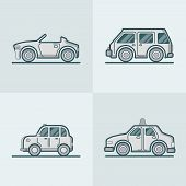 Convertible cabriolet cabrio sportscar van car taxi cab lineart line art road transport set. Linear stroke outline flat style vector icons. Monochrome color icon collection. poster