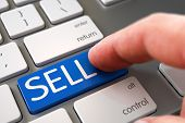 SELL - White Keyboard Key. Selective Focus on the SELL Button. Computer User Presses SELL Blue Key. Hand Touching SELL Key. Finger Pressing a White Keyboard Key with SELL Sign. 3D. poster
