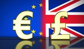 Brexit British referendum financial concept with EU and UK flag and currency icon and symbol 3D illustration background. poster