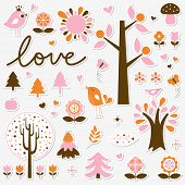 vector birds and trees set sticker poster
