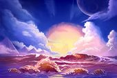 Watercolor Style Video Game Digital CG Artwork Concept Art Illustration Set 4: Scenery of Alien Planet from Sea. Realistic Fantastic Cartoon Style Character, Background, Wallpaper, Story, Card Design poster