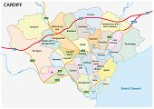 administrative and political vector map of the Welsh capital Cardiff poster