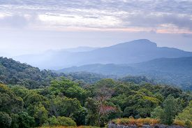 landscape scene and sunrise in morning over the mountains at Doi Inthanon Chiang Mai Thailand