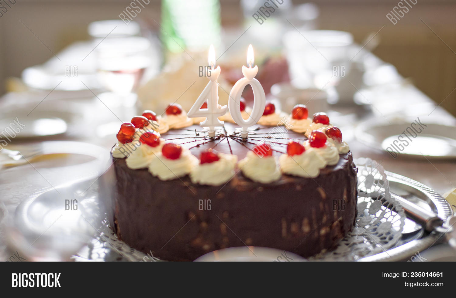 Happy 40th Birthday Cake Candles On Image Photo Bigstock