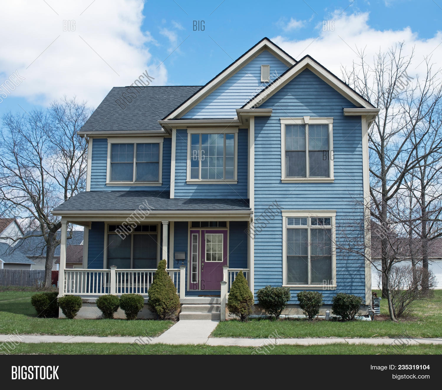 Blue Two Story House Image Photo Free Trial Bigstock