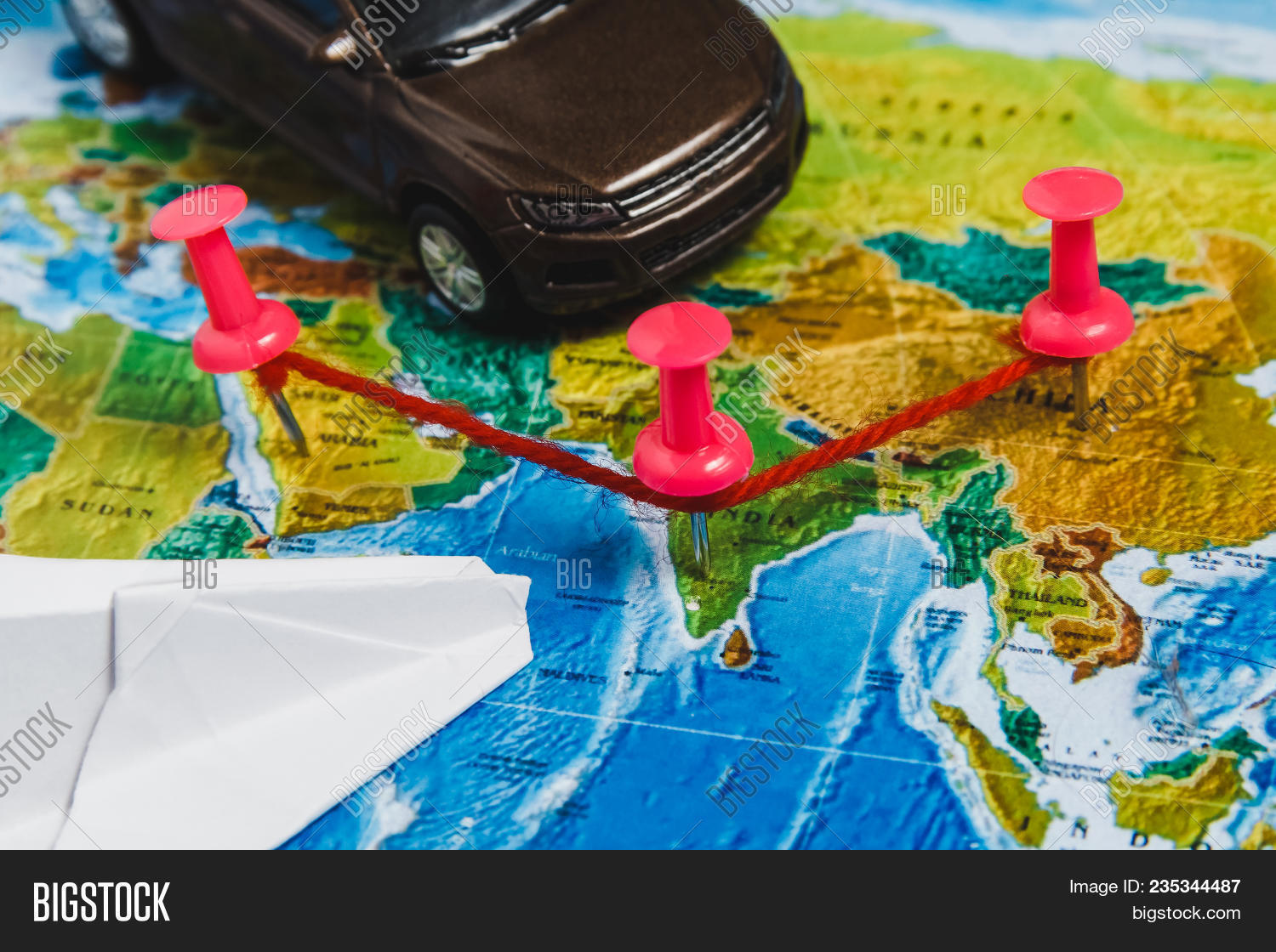Travel destination points on world image photo bigstock travel destination points on world map indicated with colorful thumbtacks red rope and shallow dept gumiabroncs Images