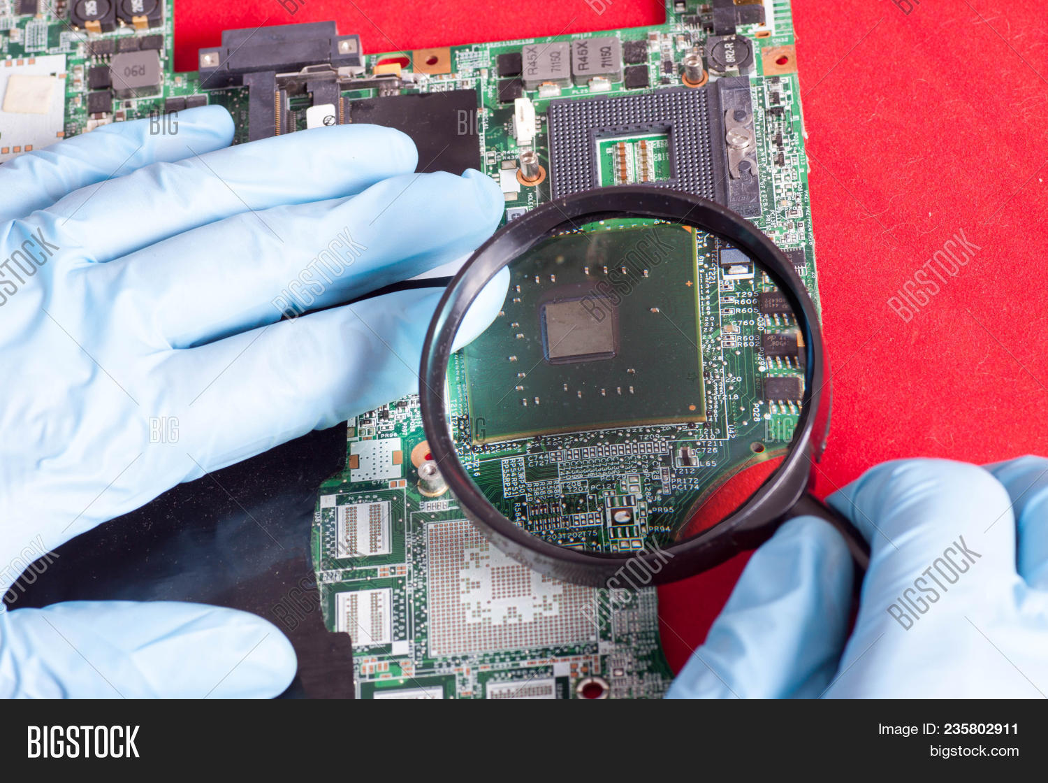 Magnifier Hands Blue Image Photo Free Trial Bigstock Pcb Circuit Board Assembly Buy Boardpcb In With Gloves Showing Or Looks On Printed