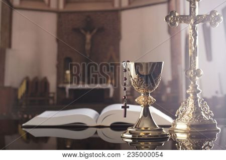First Holy Communion. Catholic Religion Theme. Golden Chalice And Bible.