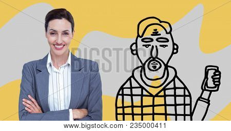 Business woman standing on with her arms crossed between a drawing of unkempt person
