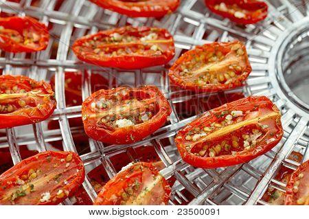 sundried cherry tomatoes on food dehydrator tray, shallow dof