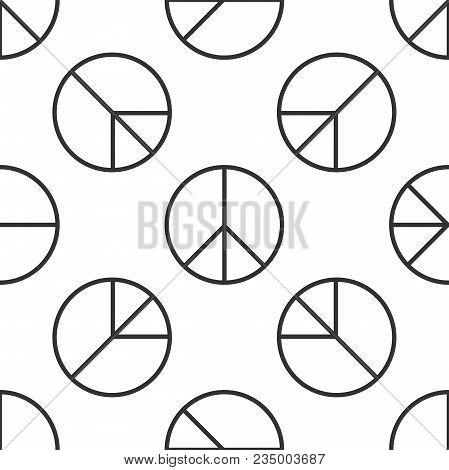 Peace Sign Icon Seamless Pattern On White Background. Hippie Symbol Of Peace. Flat Design. Vector Il
