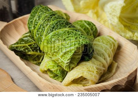 Cabbage Rolls Stuffed With Meat And Grits.