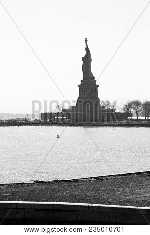 Statue Of Liberty Monochrome Viewed From Ellis Island