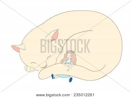 Hand Drawn Vector Illustration Of A Very Big Cat, Curled Up, And Little Girl With Long Hair, Sleepin