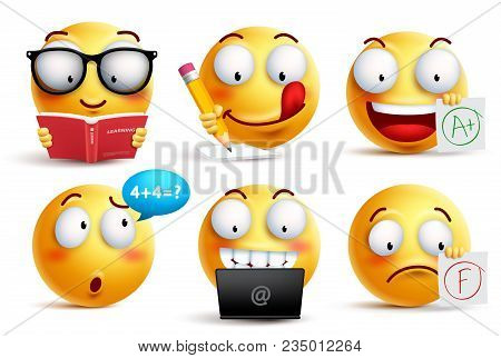 Smiley Face Vector Set For Back To School With Facial Expressions And Student School Activities Isol