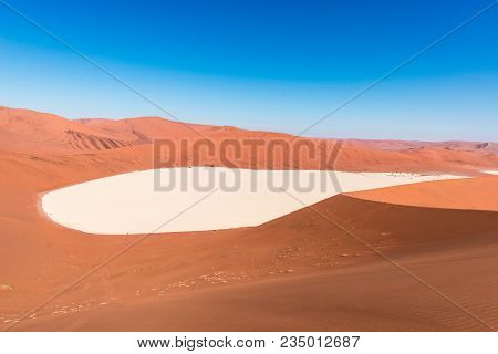 Sossusvlei Namibia, Clay And Salt Pan Surrounded By Majestic Sand Dunes. Namib Naukluft National Par
