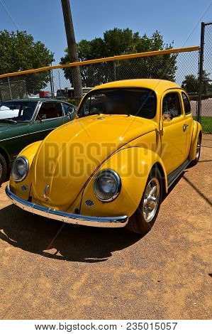 Yankton, South Dakota, August 19, 2017: The Restored Classic Gold 1963 Volkswagon Is Displayed At Th