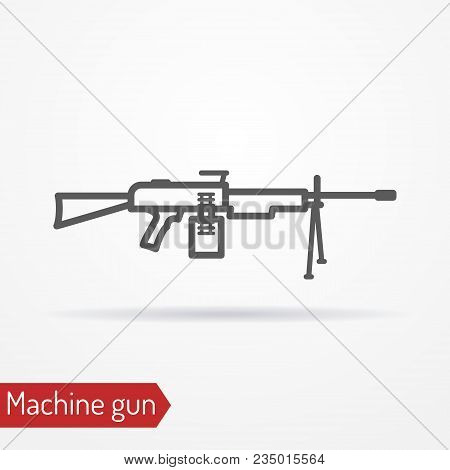 Abstract Assault Machine Gun. Isolated Icon In Line Style With Shadow. Typical Army Large-caliber We