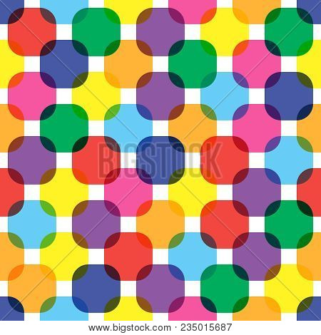 Color Squares Seamless Pattern. Bright Vivid Flat Color Overlay Transparent Rounded Squares Backgrou