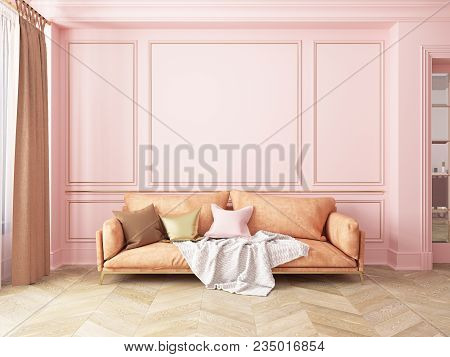 Classic Pink Interior With Sofa. 3d Render Interior Mock Up.