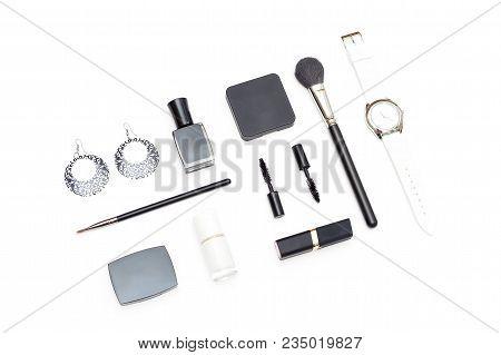 Make Up Monochrome Set On White Background. Flat Lay
