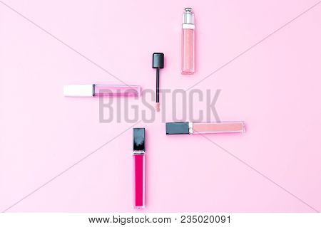 Female Makeup Set On A Pink Background. Geometric Style