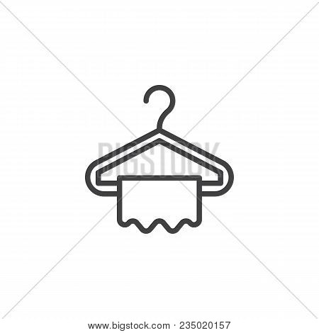 Hanger And Towel Outline Icon. Linear Style Sign For Mobile Concept And Web Design. Clothes Hanger S