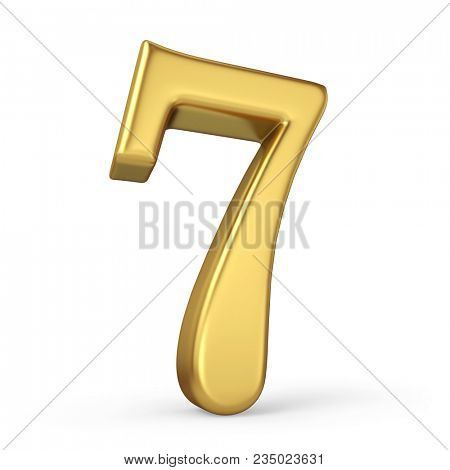 Gold Number 7 Isolated on White Background. Figure Seven. 3D Illustration. Golden Alphabet Collection.