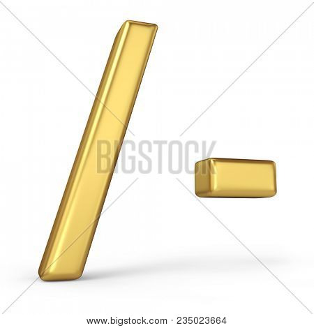 Gold Slash and Dash Signs Isolated on White Background. Punctuation Marks. 3D Illustration. Golden Alphabet Collection.