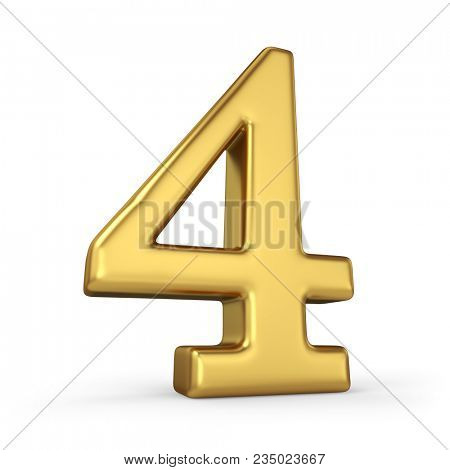 Gold Number 4 Isolated on White Background. Figure Four. 3D Illustration. Golden Alphabet Collection.
