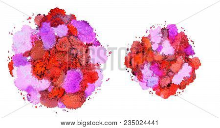 Abstract Watercolor Texture, Bionic Form, Dynamic Color Yellow, Red, Orange,  Purple, Pink. Dynamic