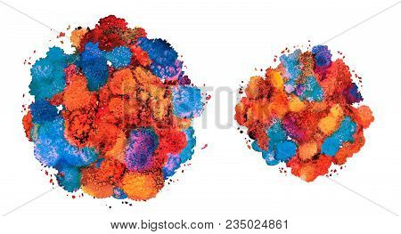 Abstract Watercolor Texture, Bionic Form, Dynamic Color Greek Blue And Red. Dynamic Development. Gro
