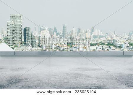 Creative Dull Conrete City Wallpaper With Copy Space