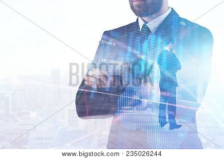 Finance, Broker And Trade Concept. Businessman Standing On Abstract Forex City Office Interior Backg