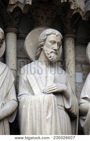 PARIS, FRANCE - JANUARY 04: Saint Andrew, Portal of the Last Judgment, Notre Dame Cathedral, Paris, UNESCO World Heritage Site in Paris, France on January 04, 2018.