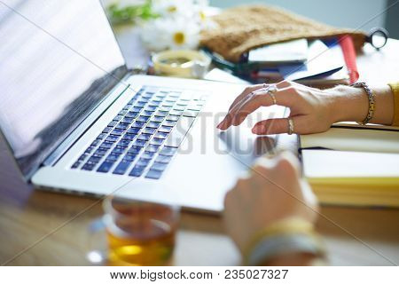 Young woman on a coffee break or enjoying the coffee-break, Using laptop computer.