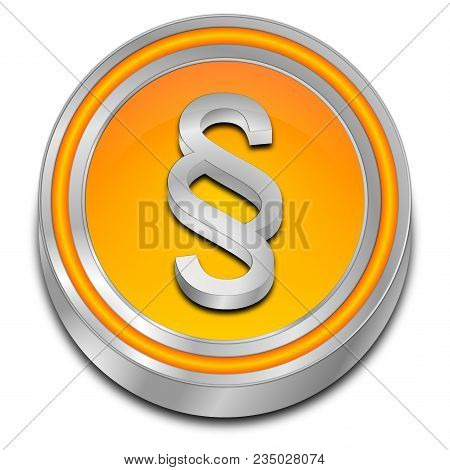 Decorative Orange Law Paragraph Button - 3d Illustration